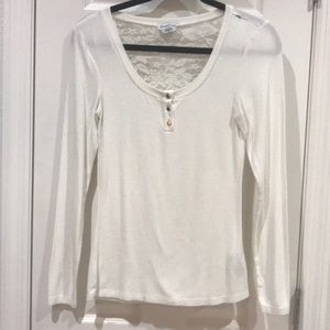 Bebe White Blouse & Lace Size Small